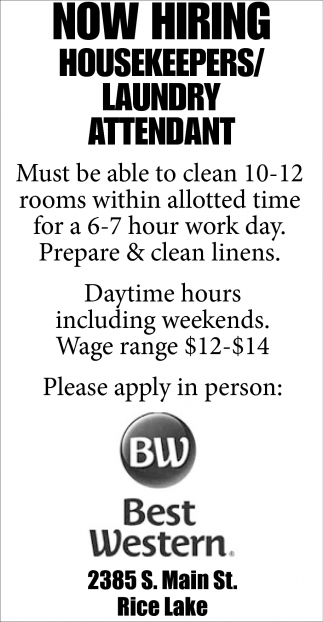 Housekeepers / Laundry Attendant