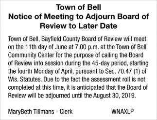 Notice of Meeting to Adjourn Board of Review to Later Date