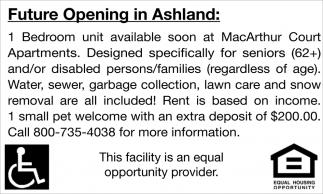 Future Opening in Ashland