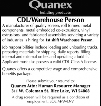 CDL / Warehouse Person
