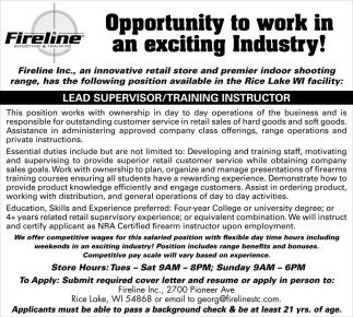 Lead Supervisor / Training Instructor