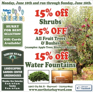 15 Off Shrubs 25 Off All Fruit Trees Bushes North Star