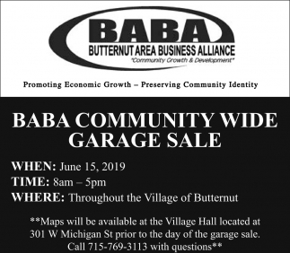 Butternut Area Business Alliance, BABA Community Wide Garage