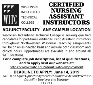 Certified Nursing Assistant Instructors