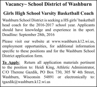 Girls High School Varsity Basketball Coach