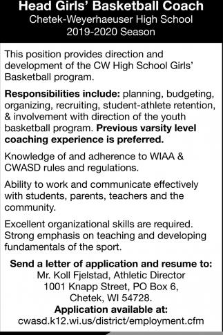 Head Girls' Basketball Coach