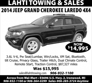 2014 Jeep Grand Cherokee Laredo 4X$
