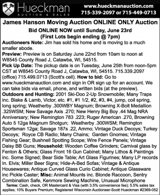 James Hanson Moving Auction Online Only Auction
