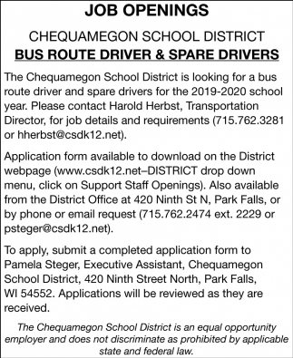 Bus Route Driver & Spare Drivers