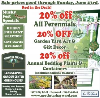 20% off all perennials 20% off garden yard art & gift decor