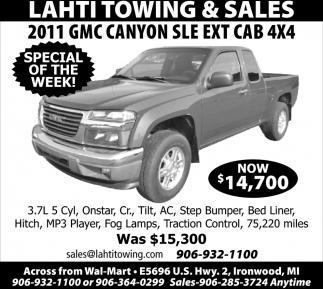 2011 GMC Canyon SLE Ext. Cab 4X$