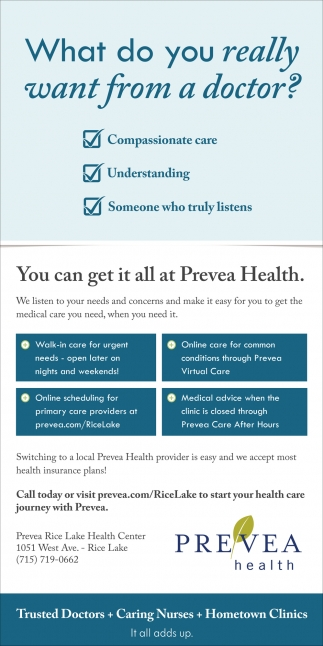 You can get it all at Prevea Health