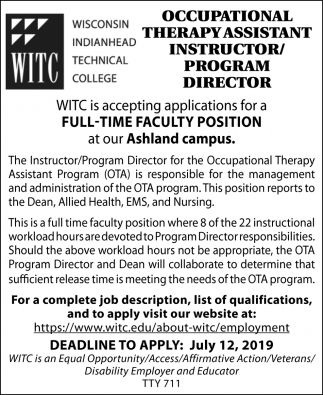 Occupational Therapy Assistant Instructor / Program Director