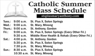 Catholic Summer Mass Schedule