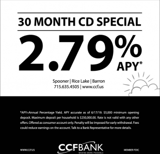 30 Month CD Special 2.79% APY