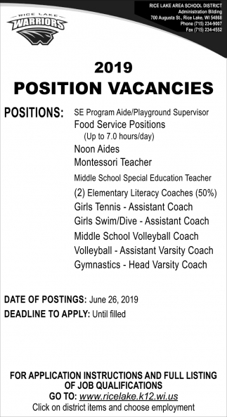 2019 Position Vacancies