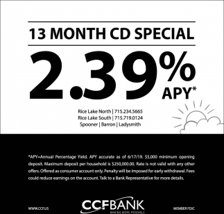 13 Month CD Special 2.39% APY