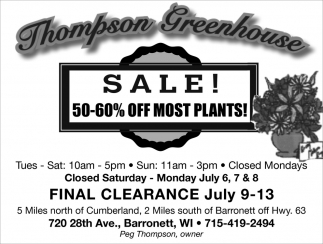 50-60% off most plants!