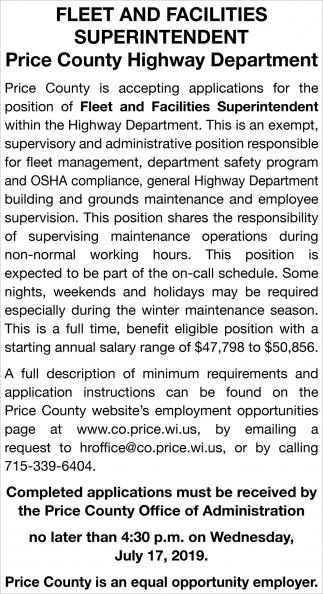 Fleet and Facilities Superintendent