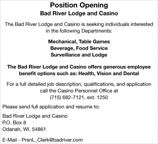 Mechanical, Table Games, Beverage, Food Service, Surveillance and Lodge