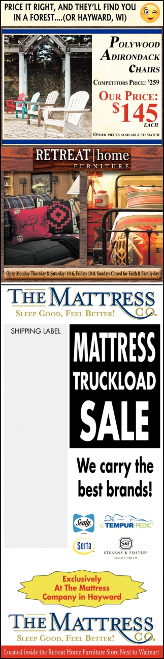 Ads For Retreat Home Furniture The Mattress Co In Hayward Wi