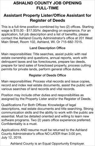 Assistant Property Lister / Office Assistant for Register of Deeds