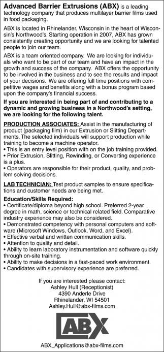 Production Associates, Lab Technician