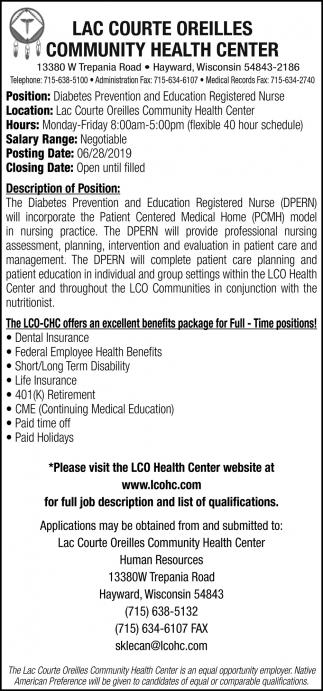 Diabetes Prevention and Education Registered Nurse
