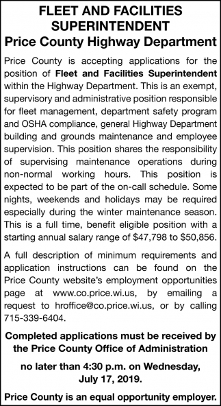 Feet and Facilities Superintendent