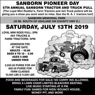 5th Annual Sanborn Tractor and Truck Pull
