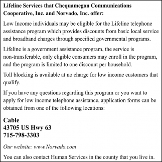 Lifeline Services that Chequamegon Communications Cooperative, Inc. and Norvado, Inc offer