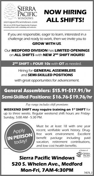 General Assemblers, Semi-Skilled