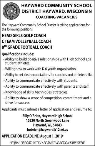 Head Girls Golf Coach, C Team Volleyball Coach, 8th Grade Football Coach
