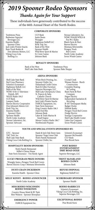 2019 Spooner Rodeo Sponsors