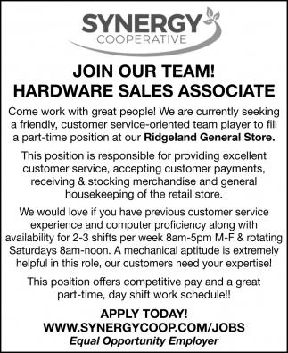Hardware Sales Associate