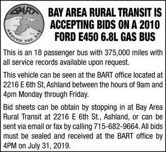 Accepting Bids on a 2010 Ford E450 6.8L Gas Bus