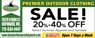 Premier Outdoor Clothing Sale!