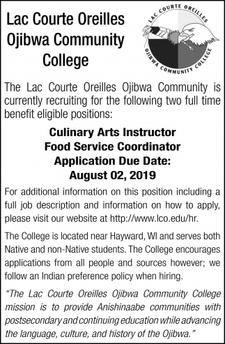 Culinary Arts Instructor, Food Service Coordinator