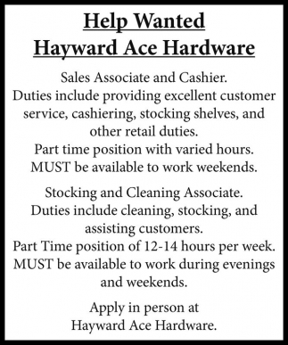 help wanted hayward ace hardware