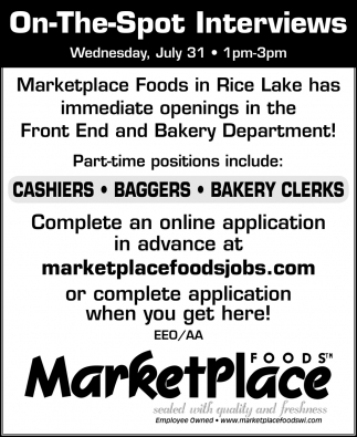 Cashiers, Baggers, Bakery Clerks