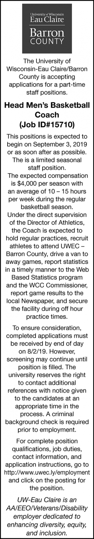 Head Men's Basketball Coach