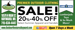 Premier Outdoor Clothing Sale