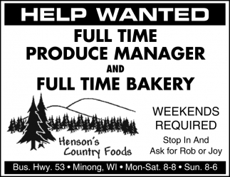 Produce Manager, Bakery