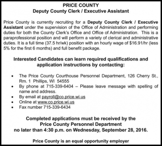 Deputy Country Clerk / Executive Assistant