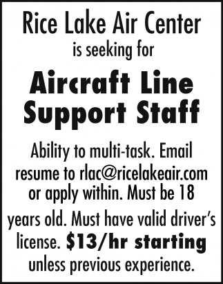 Aircraft Line Support Staff