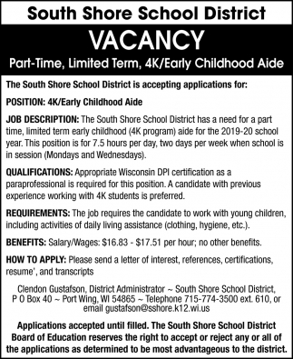 4K/Early Childhood Aide