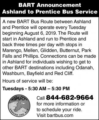 Ashland to Prentice Bus Service