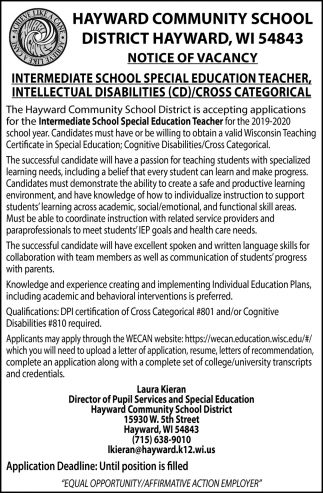 Intermediate School Special Education Teacher, Intellectual Disabilities/Cross Categorical