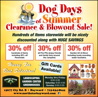 Dog Days of Summer Clearance & Blowout Sale!