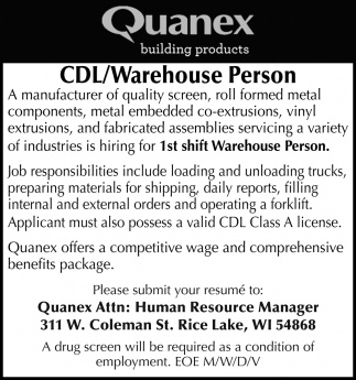 CDL/Warehouse Person
